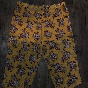 Pants - Yellow Floral Wide Legs Pants